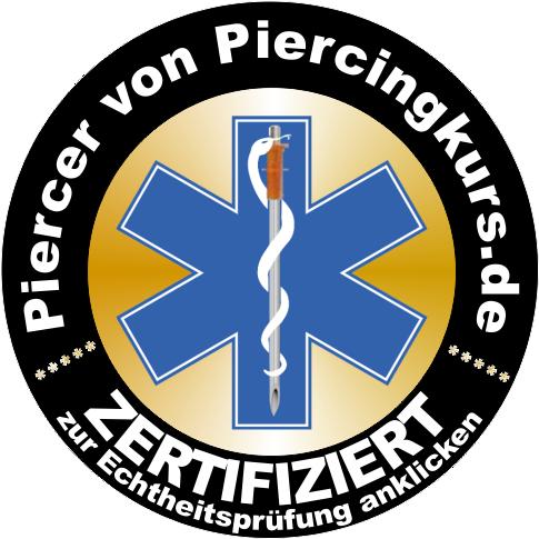 Zum Prüfen der Echtheit des Siegels bitte anklicken. Das Logo dieser Seite muss im Referenzencenter von www.Piercingkurs.de zu finden sein!