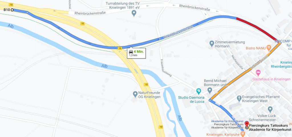 Anfahrt zur Studioakademie aus Richtung Pfalz